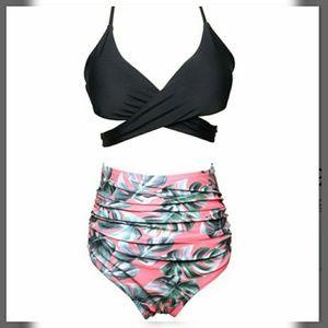 Other - ❣Black Halter Bikini Top Floral High Waist Bottom